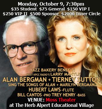 Jazz Bakery Benefit: Alan Bergman + Tierney Sutton Sing the